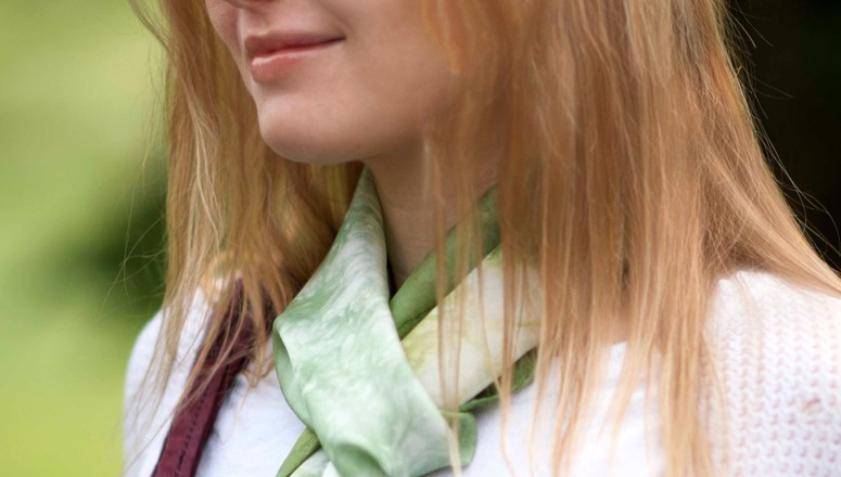 green-and-silk scarf