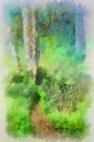 Impressionistic Deer in the Woods