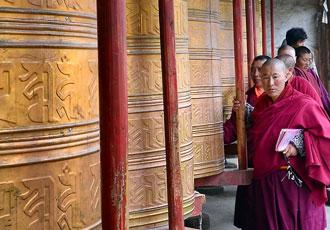 Tibetan Monks Spinning Wheel